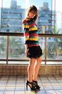 Yellow-vintage-cardigan-black-zara-skirt-red-avida-sandals