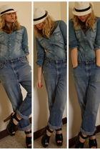 white H&M hat - blue H&M shirt - blue vintage jeans - black Zara shoes