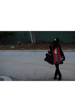 black slouchy Kmart boots - lace knit scarf - satchel Dotti bag - Hollyhoque ski