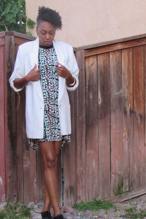 white thrifted blazer - brogues John Fluevog shoes - Truth dress