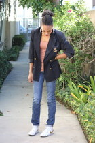 navy anchor detail ann taylor blazer - white gold swoosh nike sneakers