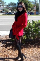 red Forever21 coat - black faux fur H&M belt - black mary jane Guess pumps