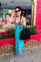 turquoise blue maxi Surf shack dress - black beanie papaya hat