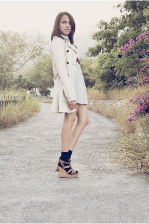 cream Bershka coat - navy American dress - brown Zara belt - brown Aldo shoes