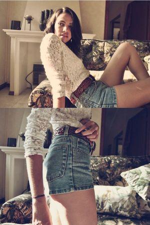white thrifted blouse - blue vintage shorts - brown Zara belt