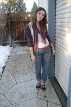 purple Forever 21 scarf - purple Urban Outfitters shoes - purple simply vera wan