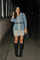 Forever21 dress - Shoedazzle boots - Forever21 top - Forever21 belt