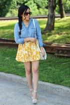 foral print Forever21 skirt - studded H&M bag - ankle strap Bakers heels