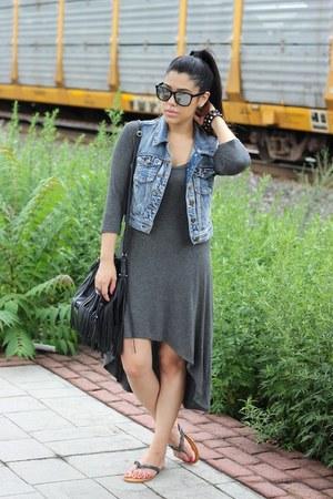 denim Forever21 vest - high low Forever21 dress - mirrored furor moda sunglasses