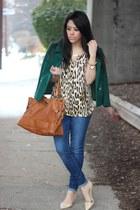 emerald vintage coat - dittos jeans - leopard print Dynamite top