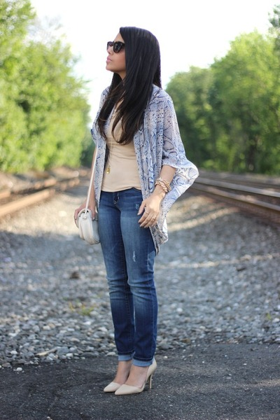 kimono cotton on cardigan - Old Navy jeans - Charlotte Russe bag