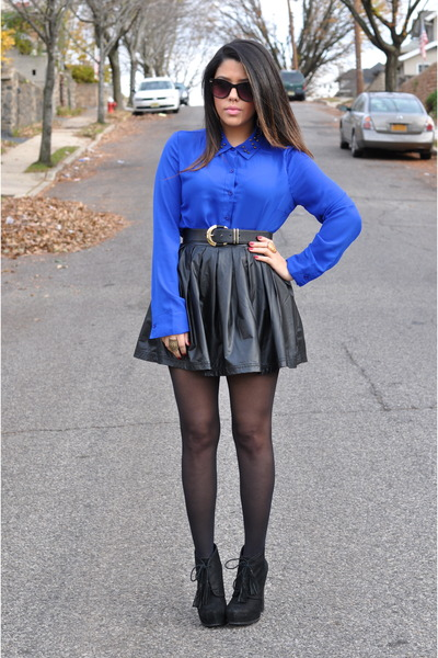 Forever21 skirt - Steve Madden boots - Blu Pepper top