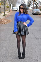 Forever21 skirt - Steve Madden boots - Blu Pepper top