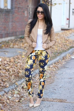 faux leather Dynamite blazer - floral print Choies pants - Forever21 pumps