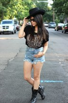 combat Mandee boots - wool Nasty Gal hat - vintage denim Choies shorts