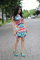floral print Sheinside dress - ankle strap Mandee heels