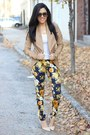 Faux-leather-dynamite-blazer-floral-print-choies-pants-forever21-pumps