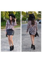 blouse - Steve Madden boots - Nasty Gal hat - H&M skirt