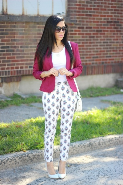 H&M blazer - printed Sheinside pants - Aldo pumps