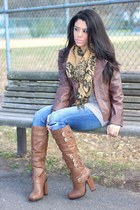 printed Gentle Fawn scarf - Charlotte Russe boots - dittos jeans