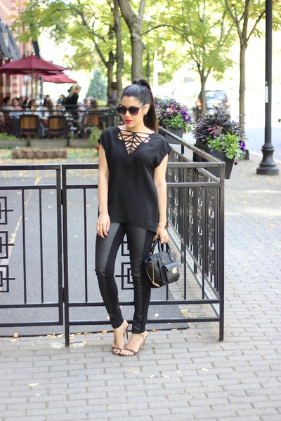 furor moda shirt - faux leather H&M leggings - mini satchel 31 Phillip Lim bag