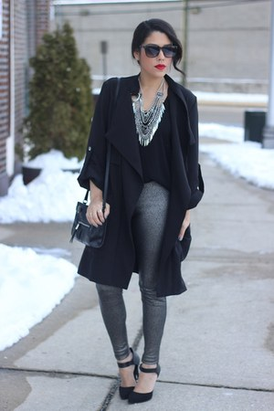Prima Donna necklace - trench coat Tobi coat - metallic HUE leggings
