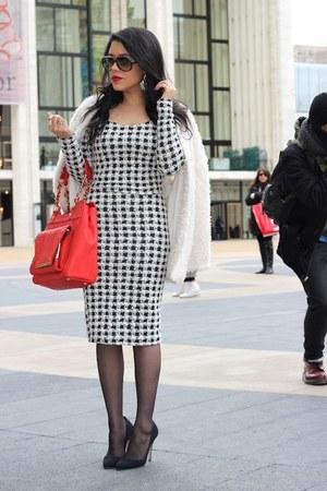 fuzzy H&M coat - Olivia  Joy bag - houndstooth Arden B top