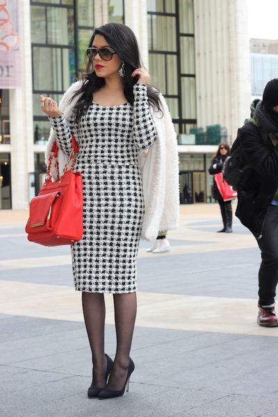 fuzzy H&M coat - Olivia  Joy bag - houndstooth Arden B top