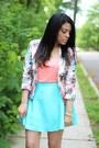 Printed-mollyla-blazer-h-m-shirt-oasap-skirt-ankle-strap-bakers-sandals