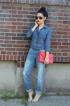 boyfriend jeans Aeropostale jeans - button up Aeropostale shirt - Mandee heels