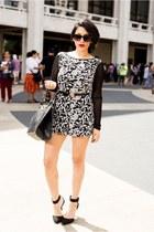 printed Macys romper - studded OASAP bag - Breckelles heels - Forever2 belt