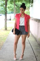 short sleeve Forever21 blazer - Aldo bag - Sheinside shorts - Sugar Lips blouse