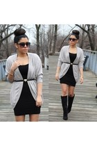 furor moda cardigan - Shoedazzle boots - H&M dress - Forever21 belt