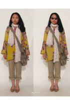 white floral Levis scarf - olive green bag - yellow floral tunic top