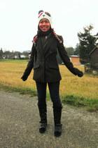 black leather suede UnbrandedVintage boots - navy strech denim XXL Denim