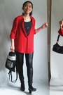 Red-chiffon-persunmall-shirt-silver-thrifted-bag-black-ashby-heels