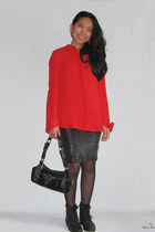 black lace up pointy boots - red red chiffon PERSUNMALL shirt - black bag