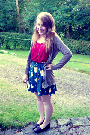 dark brown Jones loafers - gold OWN necklace - navy pansy print Topshop skirt