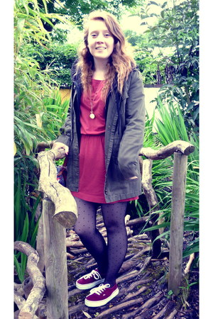 ruby red new look dress - green Oasis coat - maroon corduroy Vans sneakers