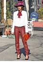 Magenta-gucci-hat-white-givenchy-blazer-maroon-zara-pants