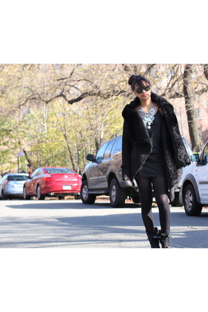nastygal coat - H&M necklace