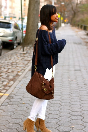 H&M pants - boots boots - nastygal sweater - River Island bag