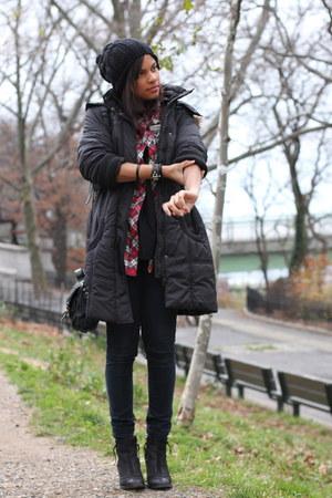 Topshop boots - nastygal coat - H&M hat - romwe shirt - Topshop bag