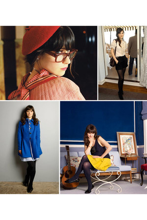 blue coat - beret hat - tights - yellow skirt