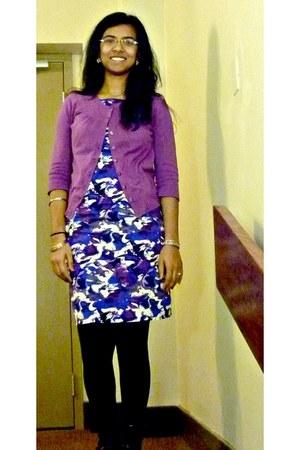 black Forever 21 tights - crimson Aldo boots - blue Walmart dress