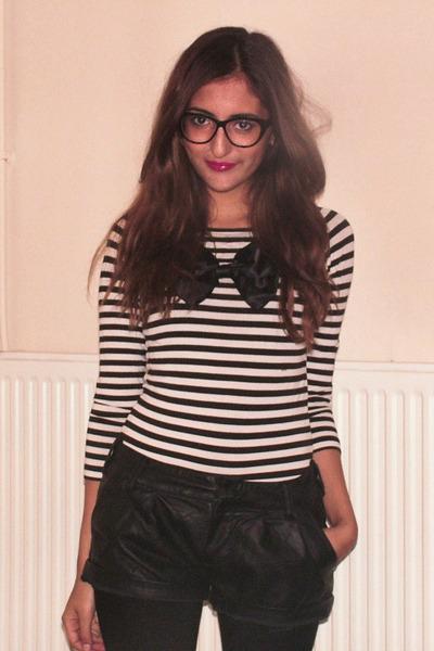 black vintage glasses - pink LOREAL accessories - white H&M sweater - black H&M