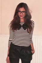black vintage glasses - pink LOREAL accessories - white H&M sweater - black H&M