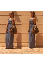 brown Stradivarius shoes - blue Oysho dress - brown gerard darel bag - brown vin