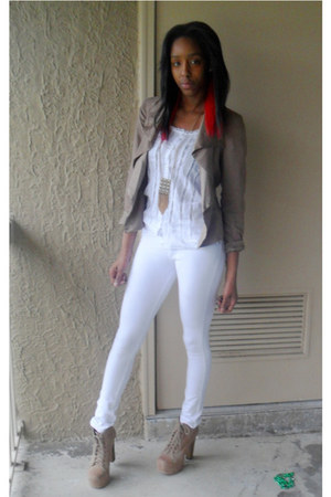 tan lita Jeffrey Campbell boots - tan Anthropologie blazer - white Buckle shirt