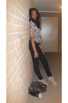 tan Jeffrey Campbell boots - light pink unknown blouse - black unknown pants - d